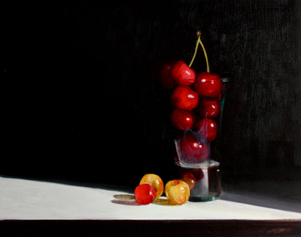 Cherries in a shot glass