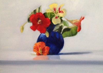 Nasturtiums in Bristol blue vase