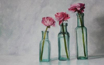 Pink flowers in Vintage Bottles